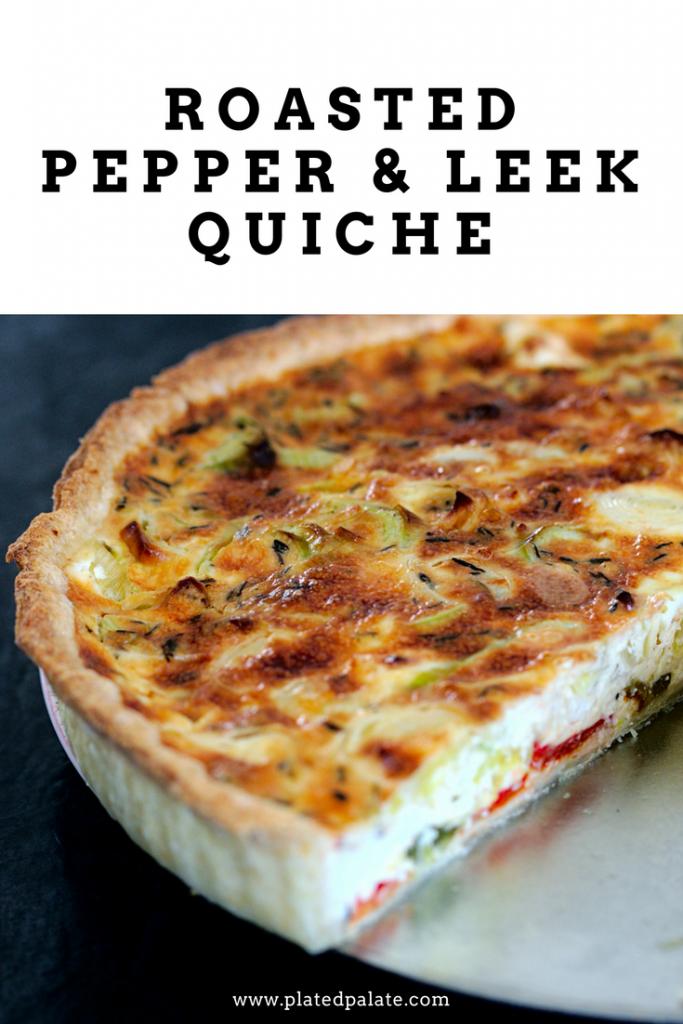 Roasted Pepper and Leek Quiche Recipe   Homemade shortcrust pastry   pâte brisée   platedpalate.com